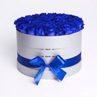 51 синяя роза в коробке