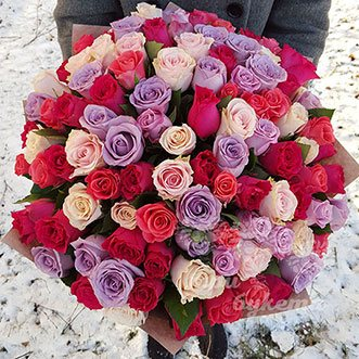 101 разноцветная роза (Premium) 70 см.