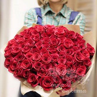 101 розовая роза (Premium) 70 см.