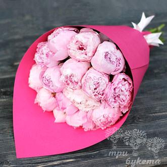 Светло-розовые пионы Premium 15 шт.