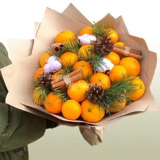Букет мандаринов в крафте